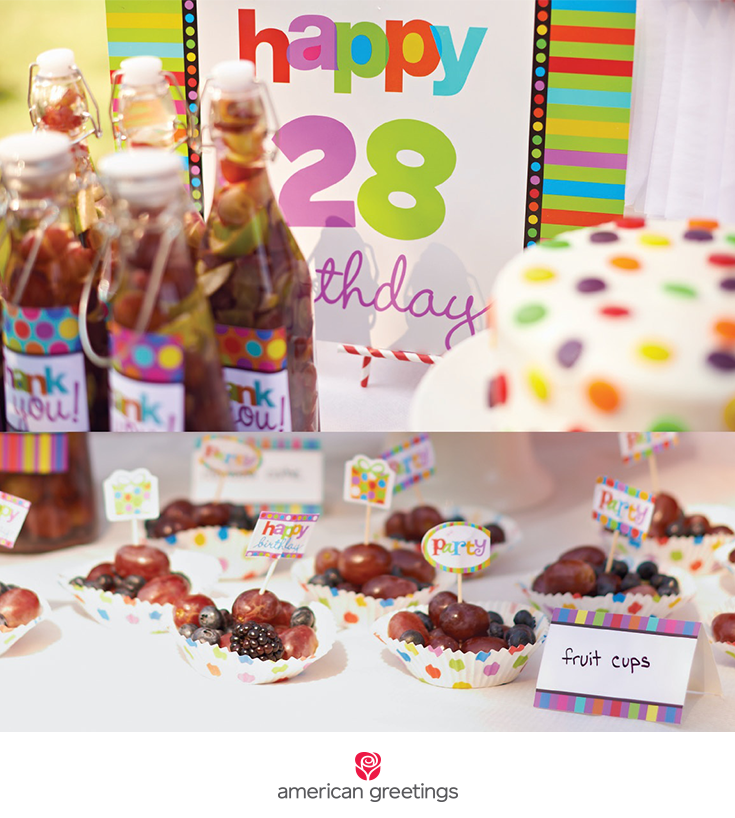 Stripes and dots birthday party food