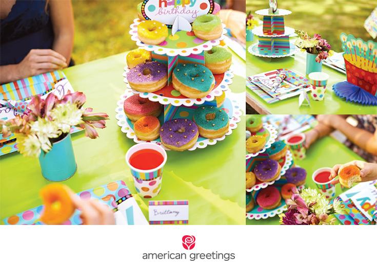 Rainbow donut bar party idea