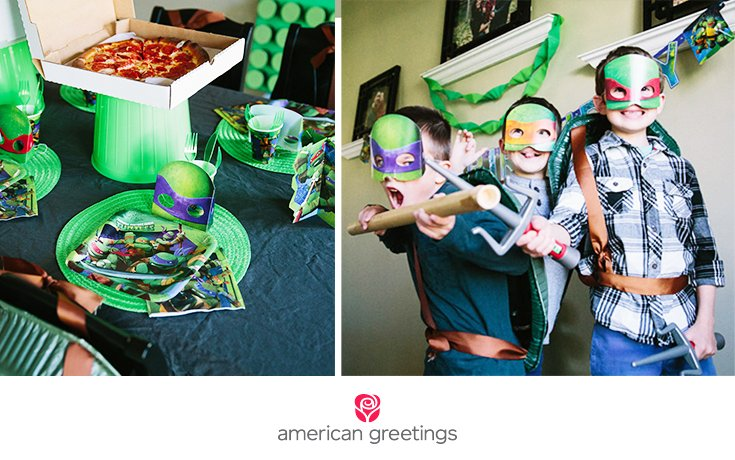 Combine DIYs with TMNT party supplies to throw a Ninja Turtles party