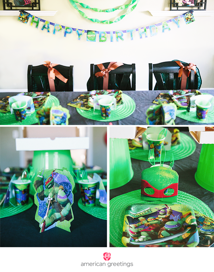 I combine my own DIYs with TMNT party supplies to set this table with Ninja Turtle place settings and throw a ninja turtle party!