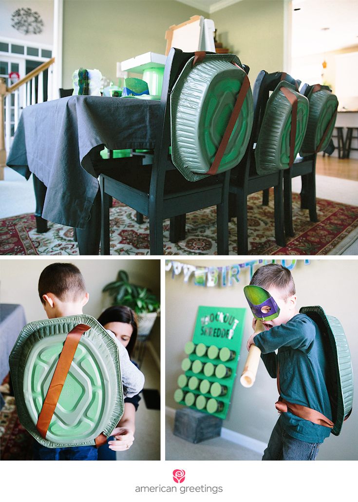 Ninja Turtle party ideas and decorations, including close-up of children wearing DIY TMNT turtle shells