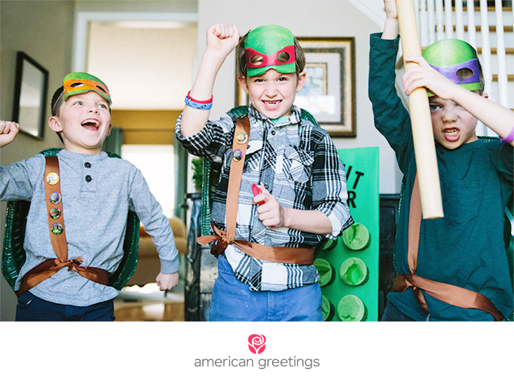 Party ideas for your little Ninja Turtles (closeup of three boys wearing Ninja Turtle costumes)