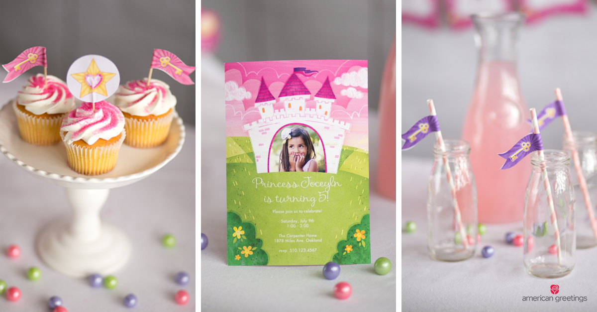 Free princess party printables to make your little one feel extra royal on her big day! - Image of princess castle themed party invite and a pink and white frosted cupcake