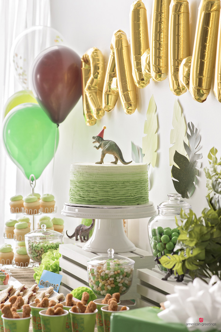 Dinosaur birthday party ideas inspiration how to decorate the dinosaur food table kristyandbryce Gallery