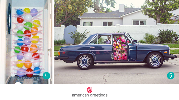 Car filled with flowers and door taped with balloons - surprise birthday ideas