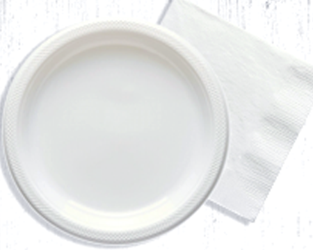 White paper plates and napkins