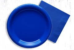 Blue paper plates and napkins