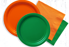 Green and orange paper plates and napkins