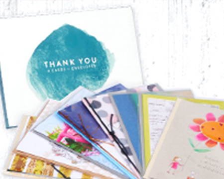 A stack of thank you cards