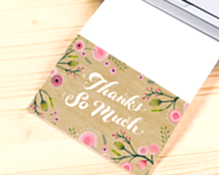 Thank you card being printed