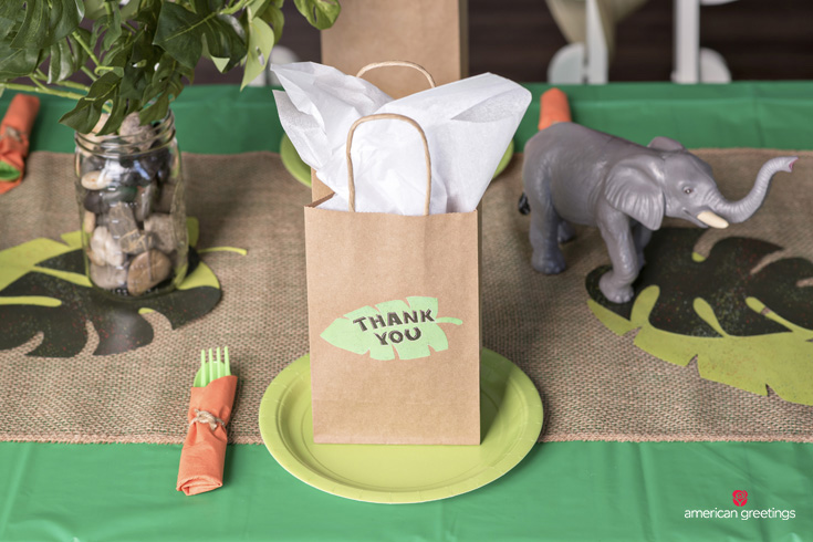 Jungle themed thank you bags