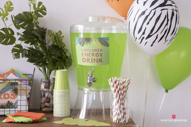 Jungle birthday party drink dispenser
