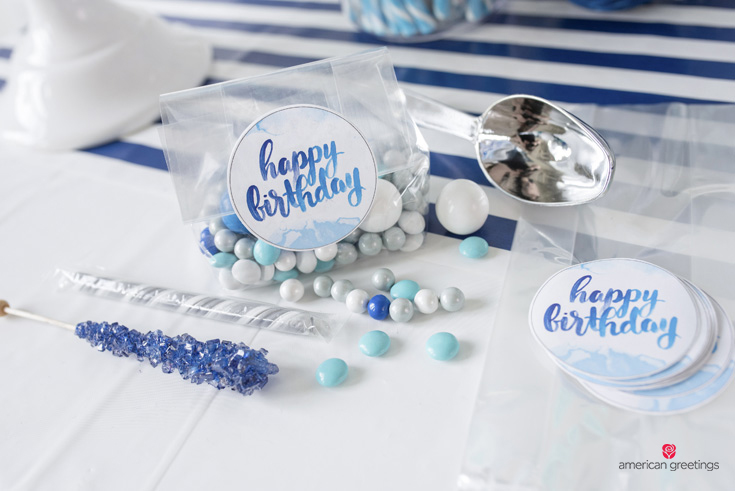 Free Printable Watercolor Design for Blue Party Favors