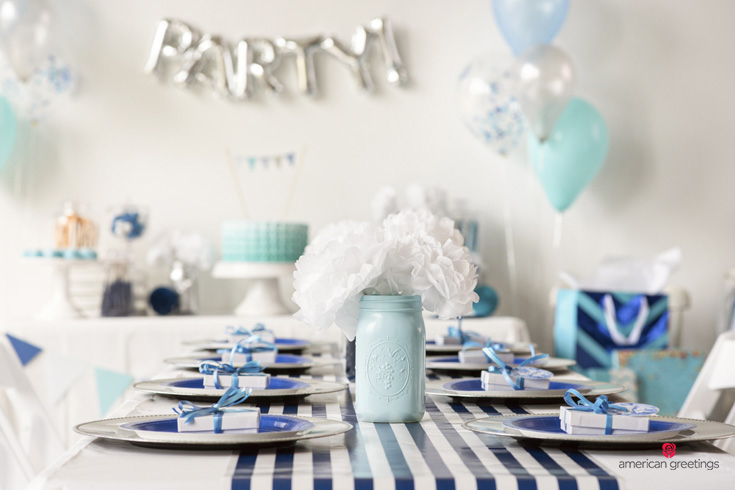 Blue Birthday Theme Party Table