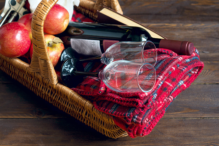 gift box with wine and apples