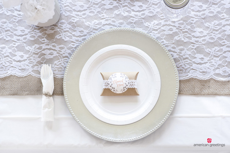 White plates for a white birthday party