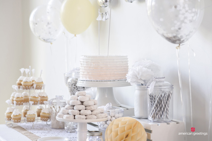 White birthday party cupcakes