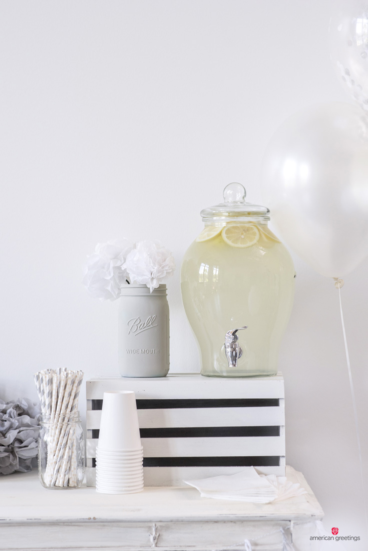 white birthday party ideas - beverage dispenser