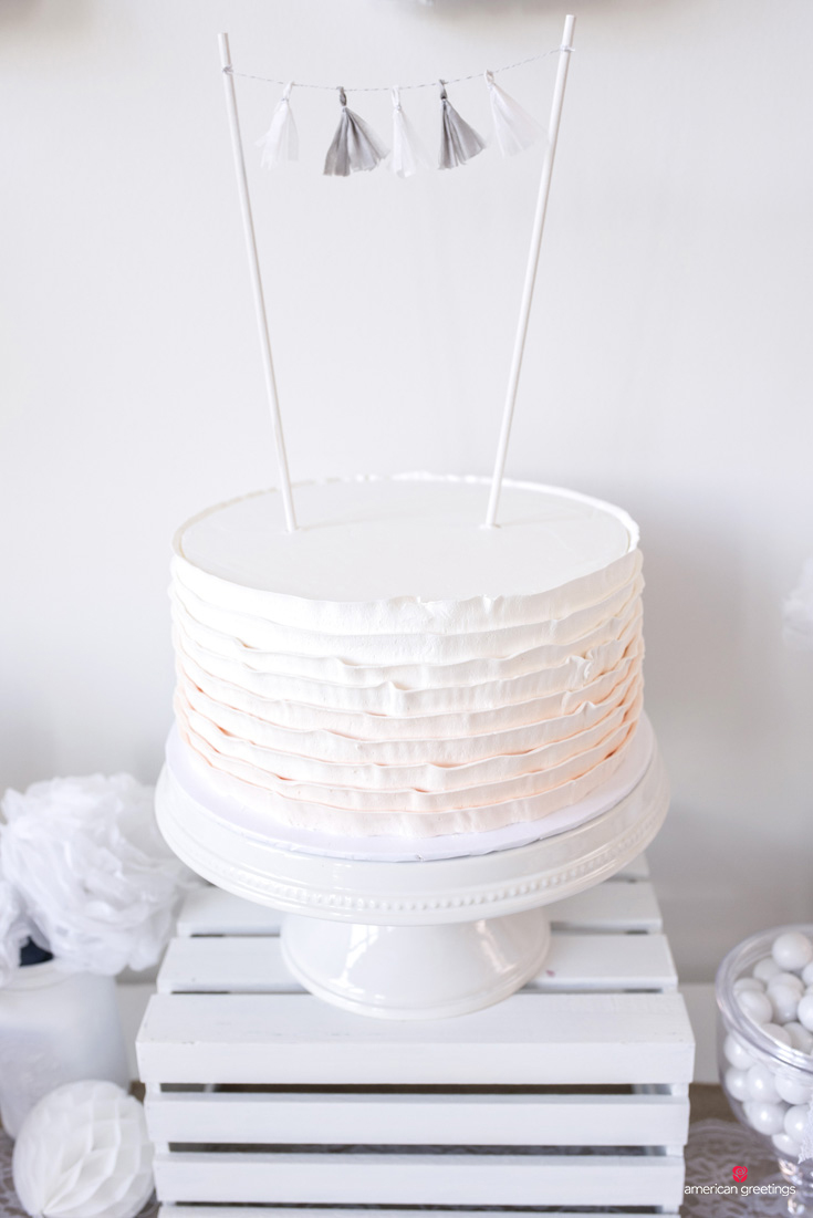 White birthday party cake