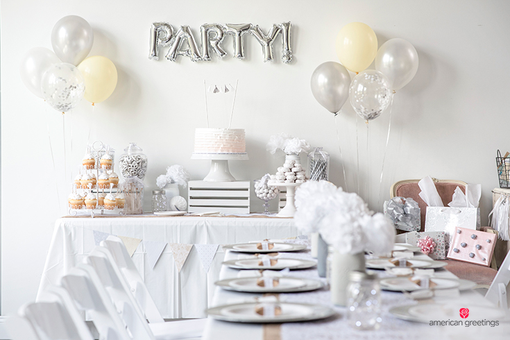 White birthday party dining table