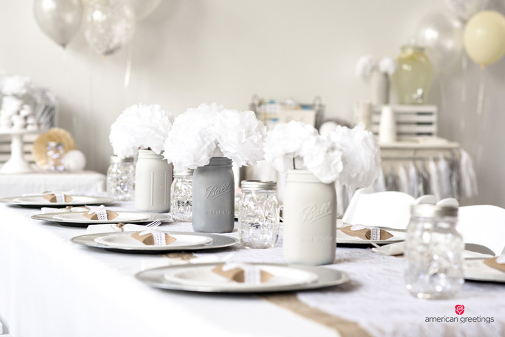 White birthday party centerpiece