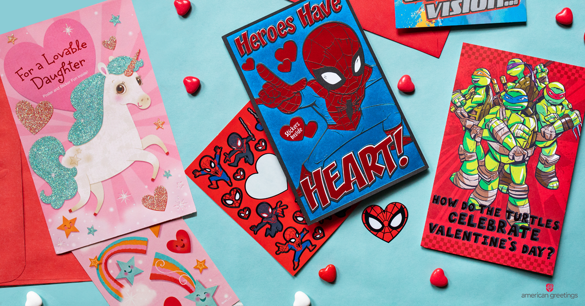 Various colorful Valentine's Day cards for kids