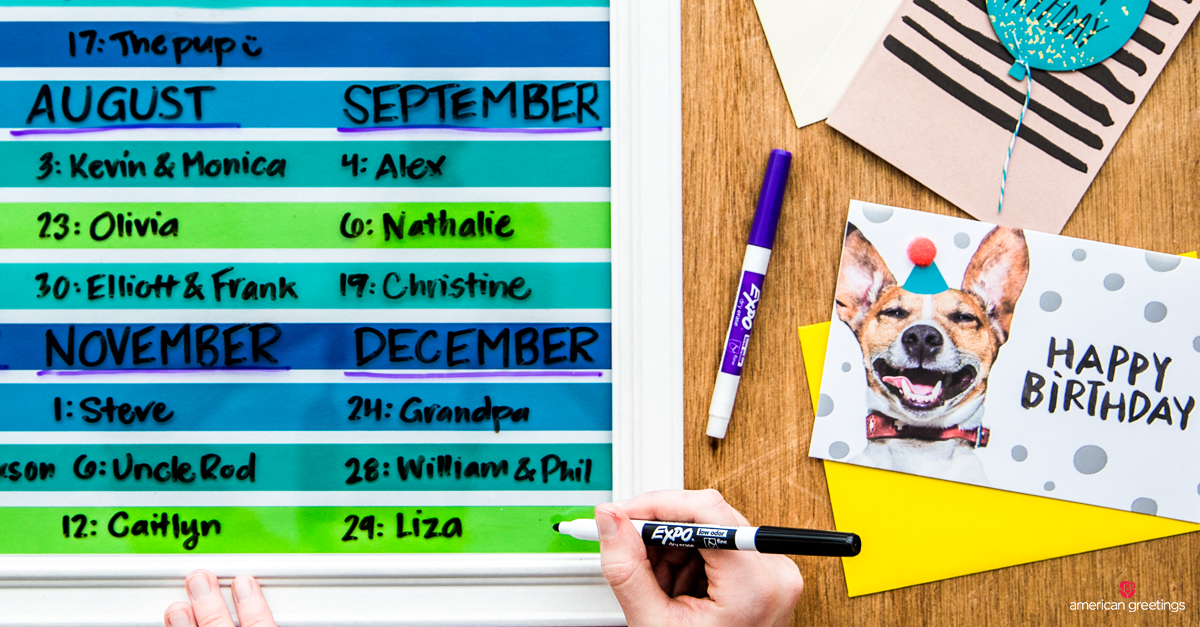 Creative DIY Birthday wall calendar with markers and birthday cards