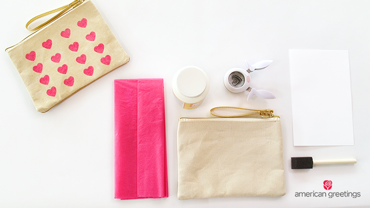 Tissue paper, Craft glue, Heart-shaped hole punch, Canvas bag, Paper, Foam brush