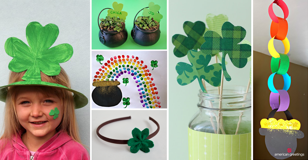 Easy DIY St. Patrick's crafts for the whole family: cute kid's hats, painting, headband, place cards and pot of gold paper chain