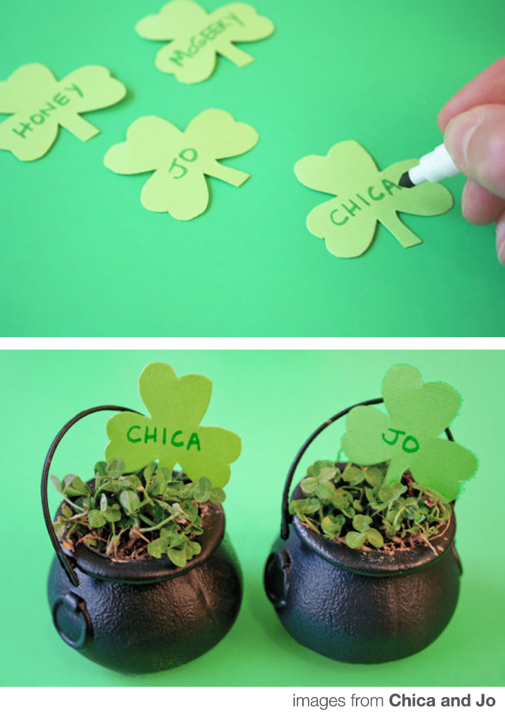 St. Patricks Day DIY Clover Place cards