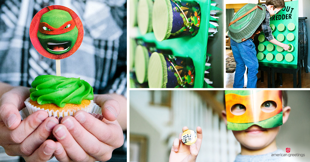 Let's Party, Dude! * A semi-homemade TMNT party * - image of child holding a Ninja Turtle decorated cupcake