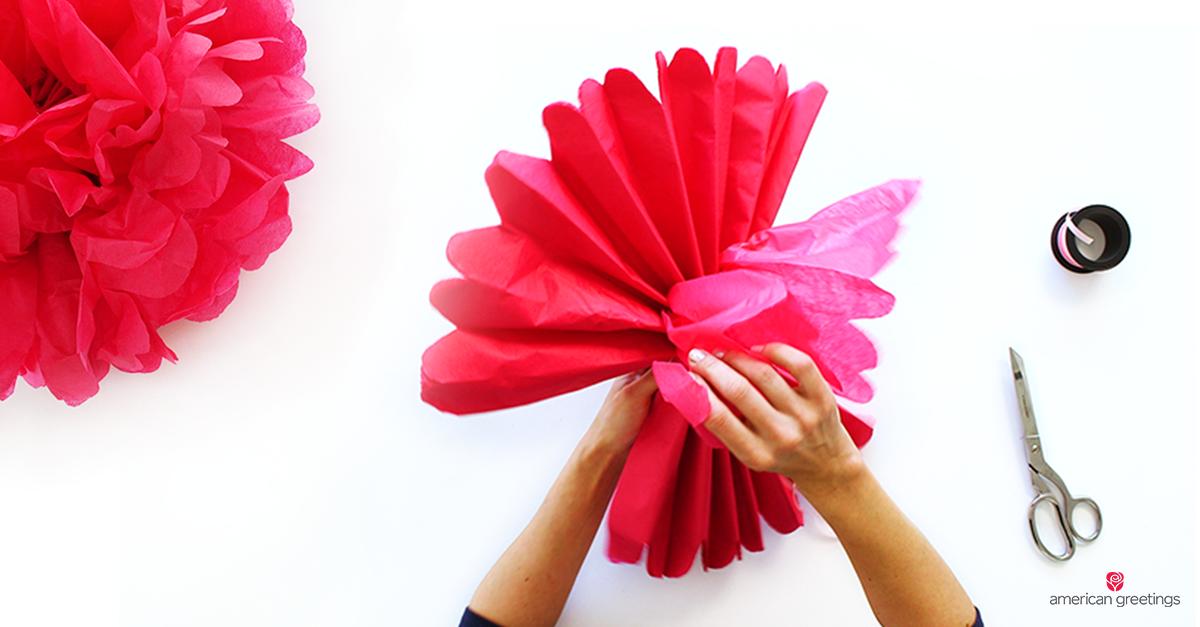Image of handmade tissue paper pom pom