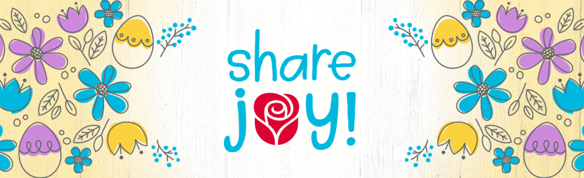 Share joy with American Greetings -  rose logo surrounded by colorful spring flowers, easter eggs and leaf illustrations