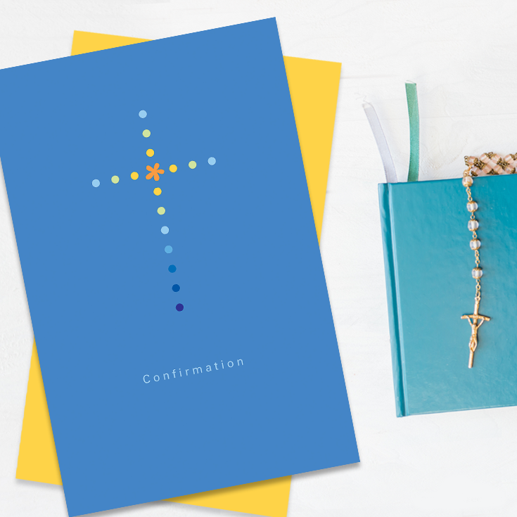 Confirmation cards for boys, blue and yellow, and gift ideas