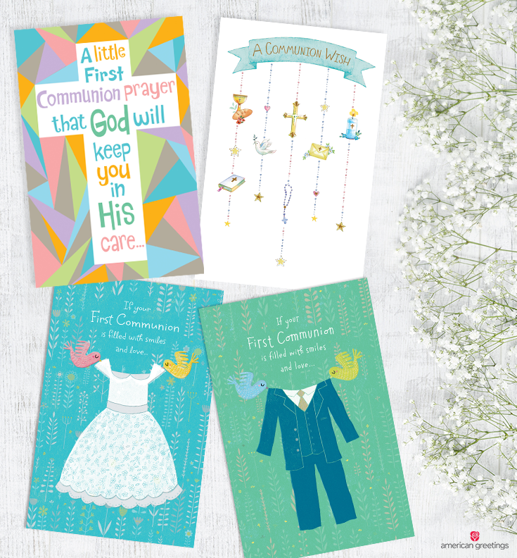Four confirmation cards on a white background next to white Baby's breath flowers.
