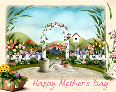 happy mothers day ecard showing a garden with bloomed flowers