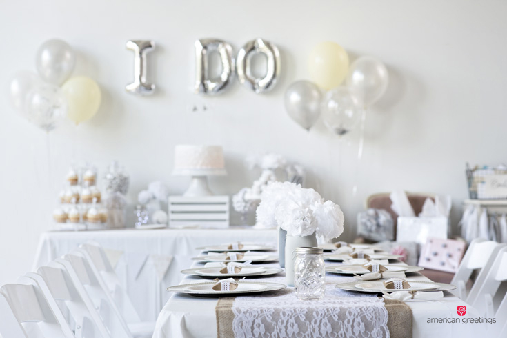 White themed bridal shower party