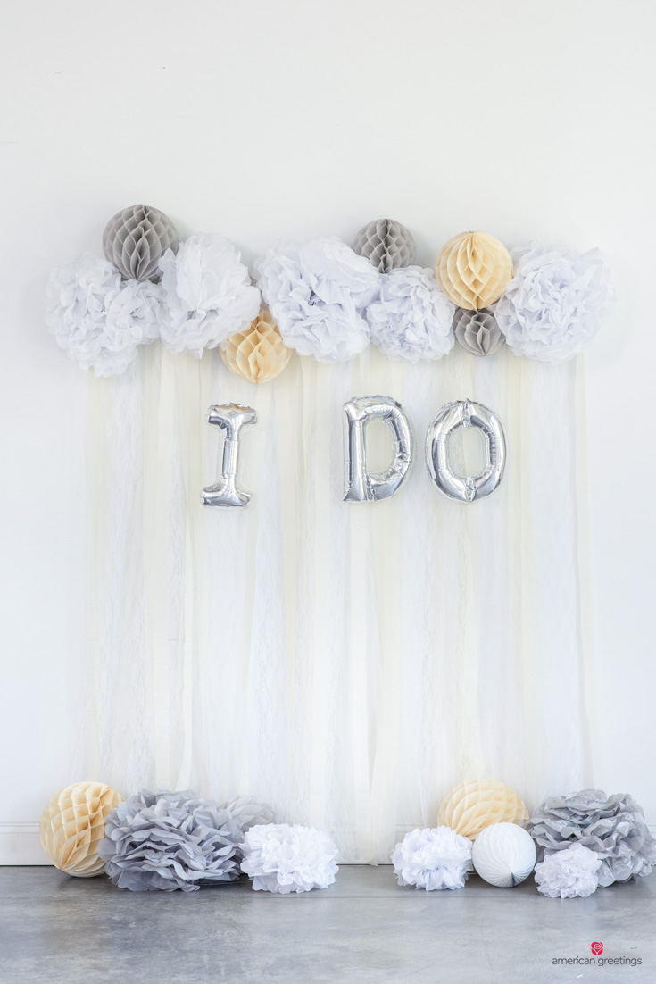 Backdrop display for I DO all white wedding bridal shower party