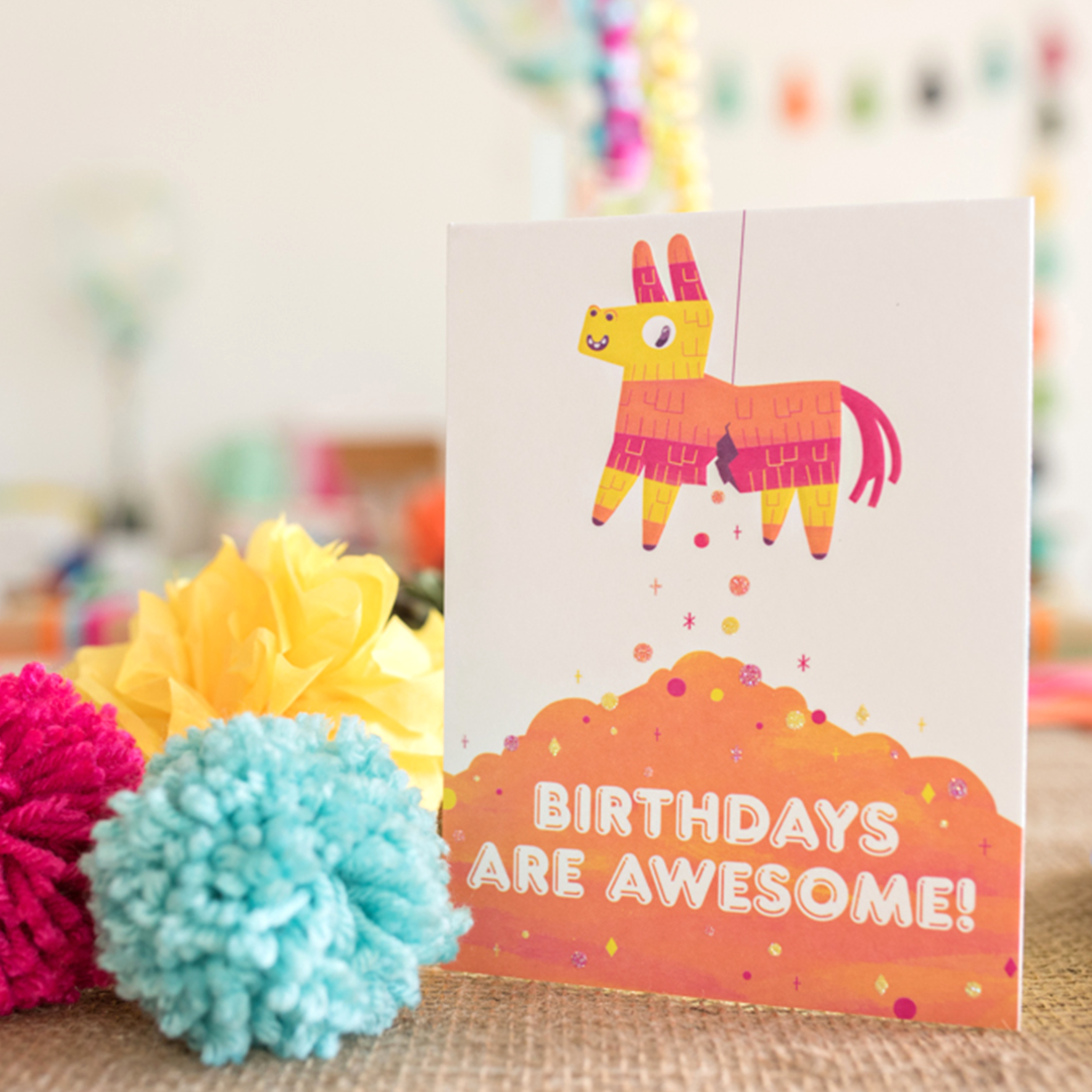 Party decorations - pinata-card