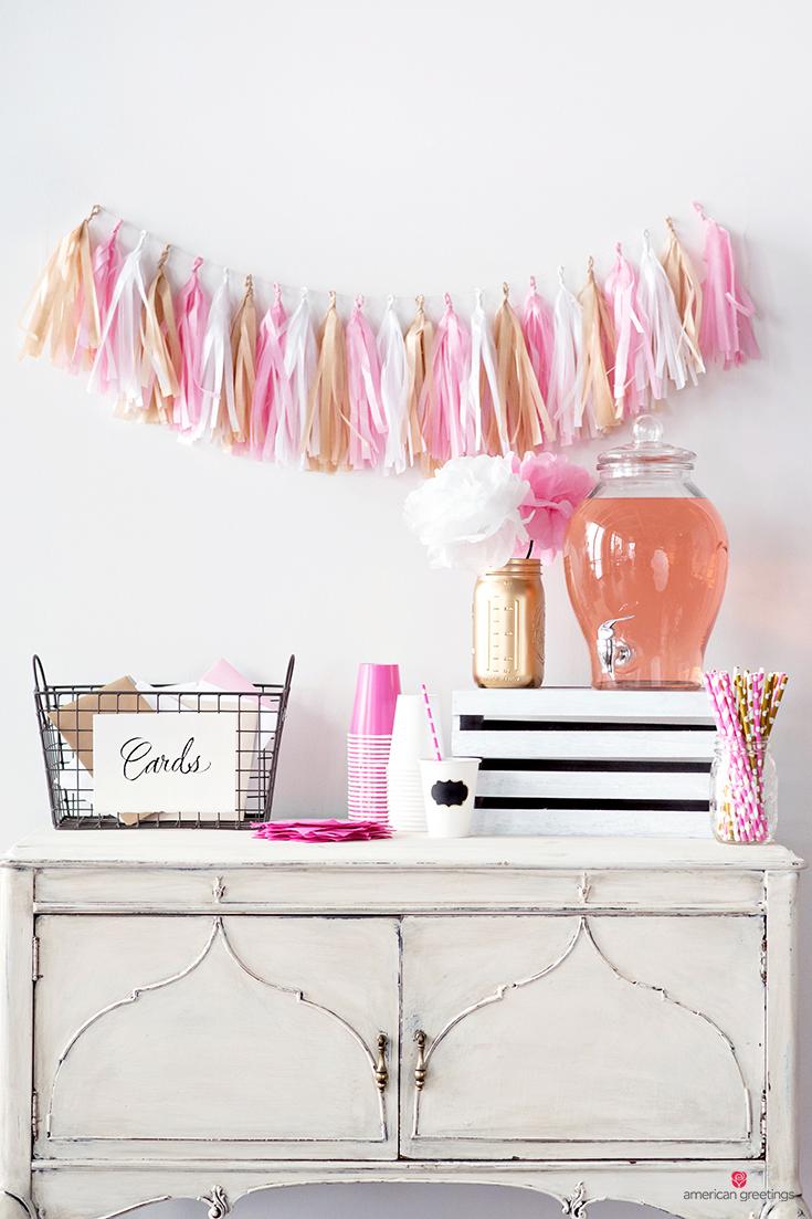 Basket cards and pink lemonade