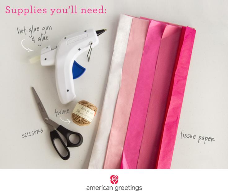 Supplies you'll need: tissue paper, hot glue gun and glue, twine, scissors