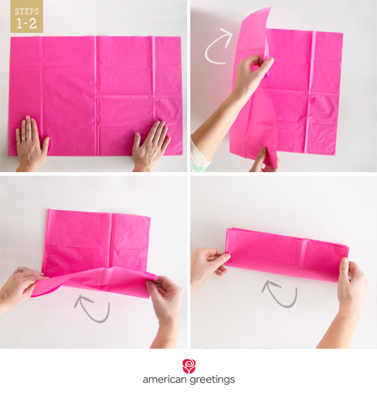 Steps 1-2 illustrated with hands folding a sheet of tissue paper