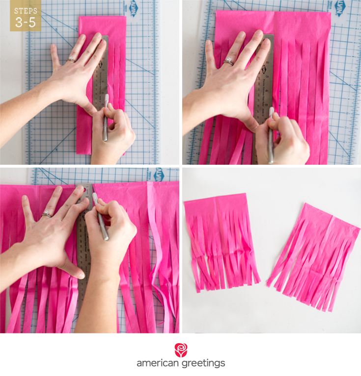 Steps 3-5 illustrated with hands using a ruler and razor to cut tassels in a sheet of tissue paper