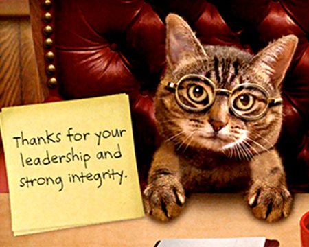 Cat with glasses and a thank you note
