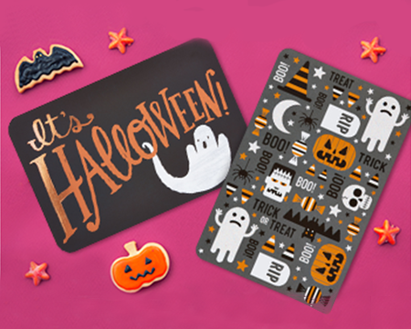Halloween ghost and pumpkins stickers