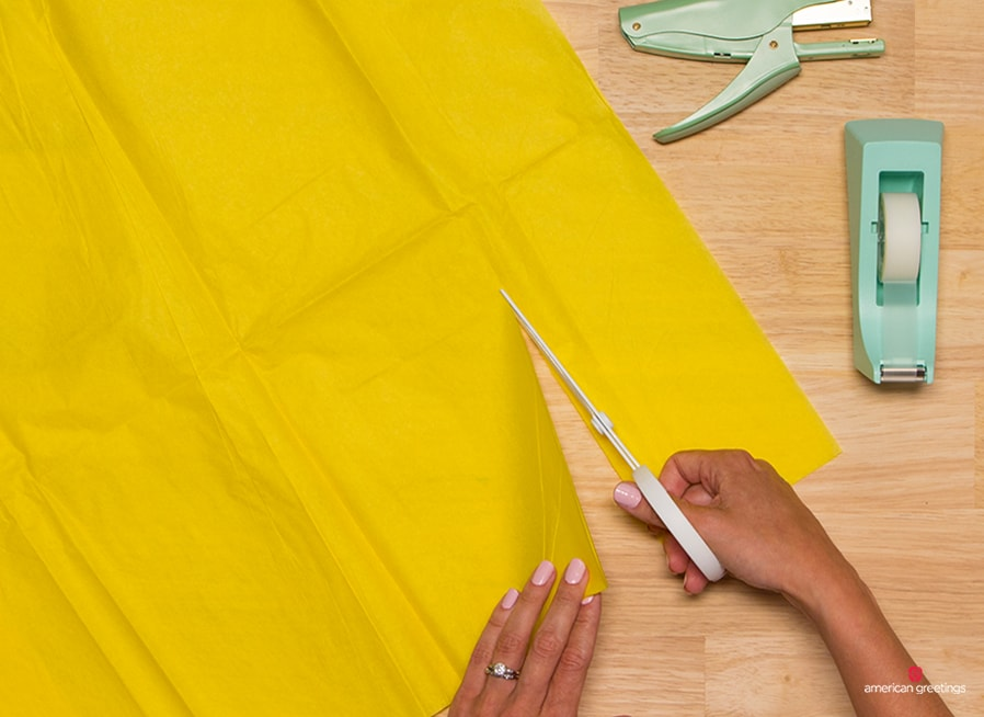 Step 1 - Place two pieces of tissue paper together and cut into both pieces lengthwise, making a 5-inch-wide strip