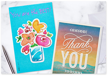 Two greeting cards: 1 - Blue with flowers and