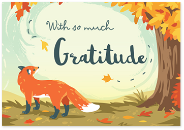 E-card showing a fox next to an autumn tree and a