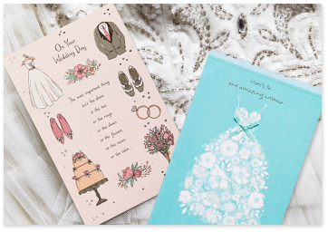 blue and beige wedding cards