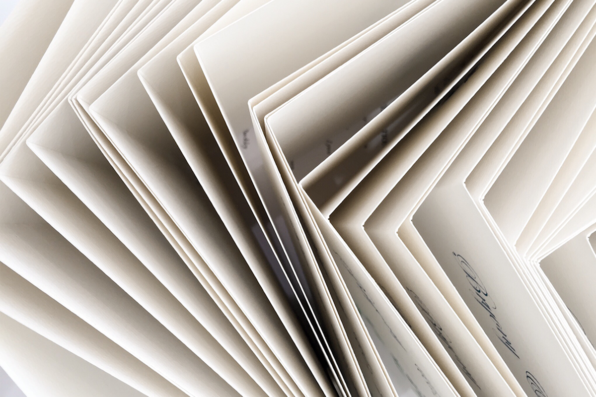 A bird's eye view of a card collection on a white background.